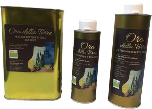 L'assortimento dell'olio evo Oro della Torre