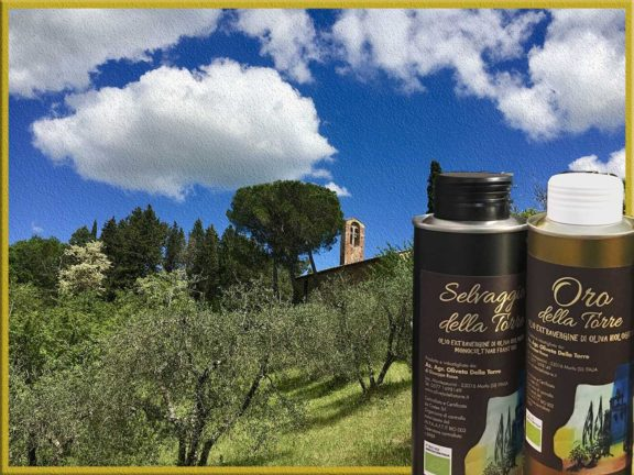 Paysage toscan avec bouteilles d'huile d'olive